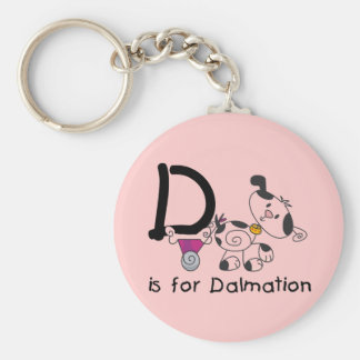 D is for Dalmation T-shirts and Gifts Basic Round Button Keychain