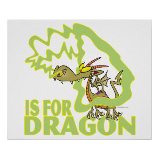 D is for dragon letter abc cartoon poster