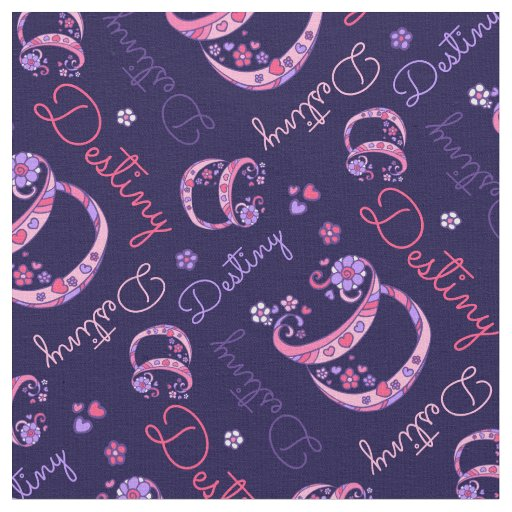 D monogram and personalized name Destiny fabric