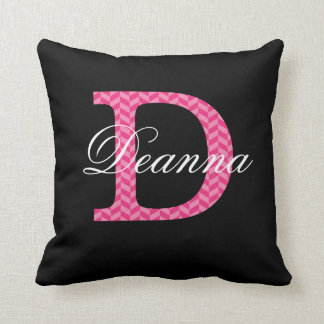 D Monogram Chevron Hot Pink With Name On Black Throw Pillow