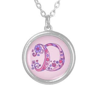 D monogram decorative letter necklace