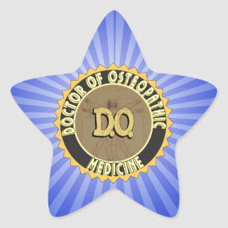 D.O. BADGE vitruvian Man DOCTOR OSTEOPATHY Star Sticker