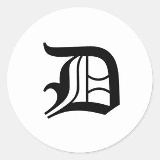D-text Old English Round Sticker