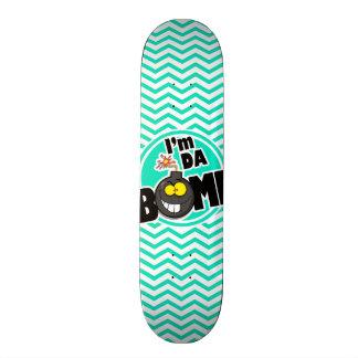 Da Bomb Aqua Green Chevron Skate Deck
