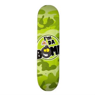 Da Bomb bright green camo camouflage Skate Deck
