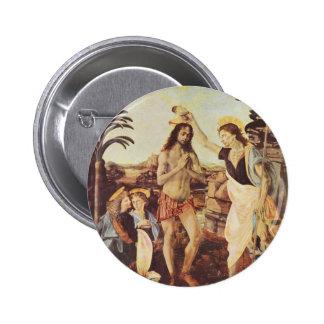 Da Vinci Leonardo - The Baptism of Christ 2 Inch Round Button