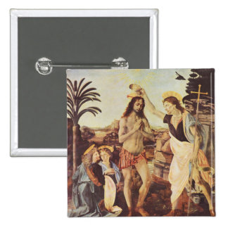 Da Vinci Leonardo - The Baptism of Christ 2 Inch Square Button