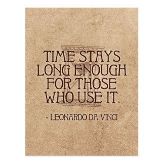 Da Vinci quote on Time postcard