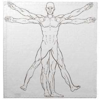 Da Vinci Style Vitruvian Man Napkin