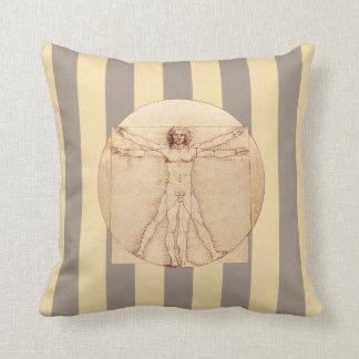 Da Vinci Vitruvian Man Stripes Throw Pillow
