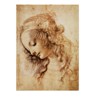 Da Vinci Woman's Head Poster
