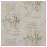Da Vinci's Human Heart Anatomy Sketches Fabric