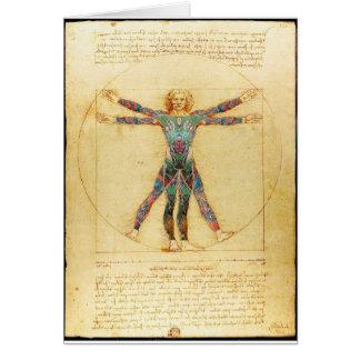 Da Vinci's Vitruvian man with tattoos Card