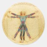 Da Vinci's Vitruvian man with tattoos Round Sticker