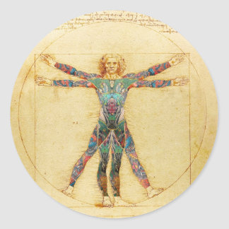 Da Vinci's Vitruvian man with tattoos Sticker