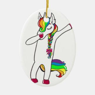 Dab unicorn ceramic ornament