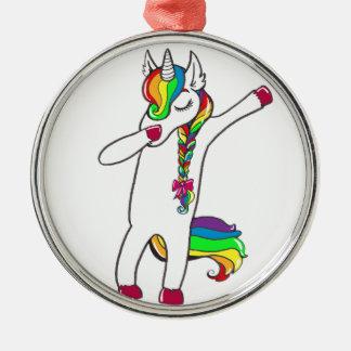 Dab unicorn metal ornament