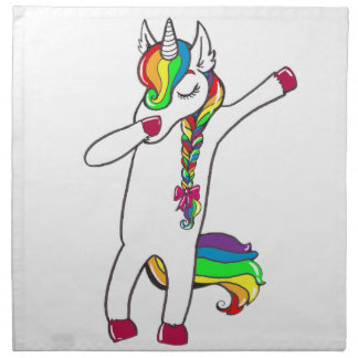 Dab unicorn printed napkin