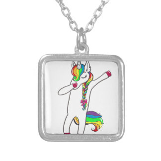 Dab unicorn silver plated necklace
