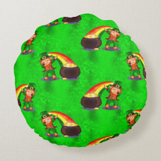 Dabbing Leprechaun Round Pillow