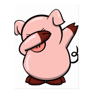 Dabbing Pig Postcard