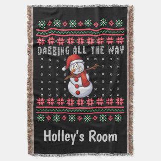 Dabbing Snowman Ugly Christmas Sweater Throw Blanket