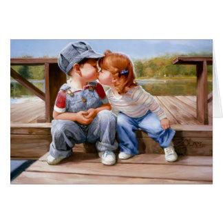D'abord carte de voeux de baiser