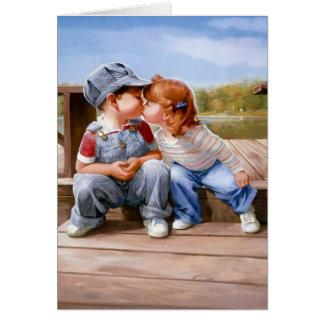 D'abord carte de voeux de baiser - horizontale