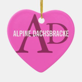 Dachsbracke alpin ornement cœur en céramique