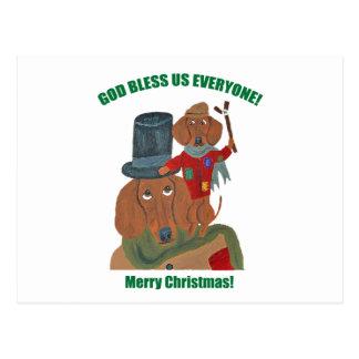 "Dachshund ""A Christmas Carol"" Tiny Tim Postcard"