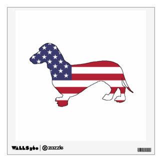 """Dachshund """"American Flag"""" Wall Sticker"""