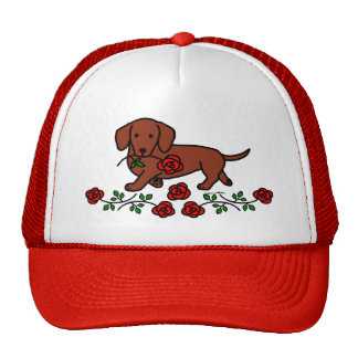 Dachshund and a flower cartoon trucker hat