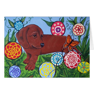 Dachshund and Butterfly Greeting Card