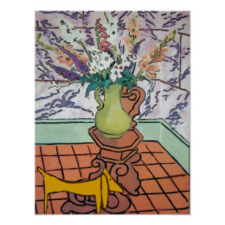 Dachshund and flowers, poster