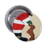 Dachshund And Santa 2 Inch Round Button