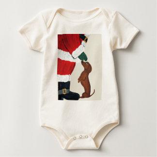 Dachshund And Santa Baby Bodysuit