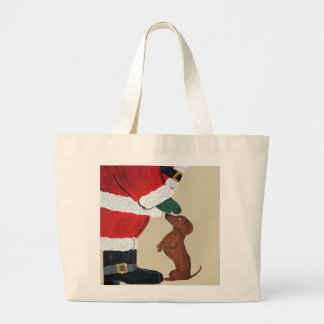 Dachshund And Santa Large Tote Bag