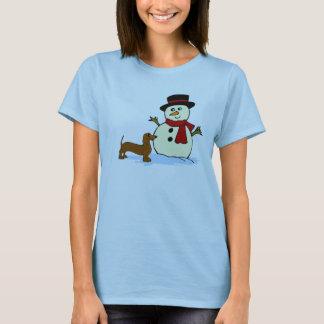 Dachshund and Snowman T-Shirt