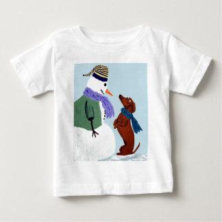 Dachshund And Snowman Tshirt