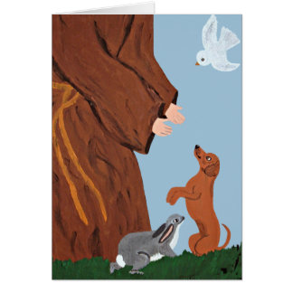 Dachshund And St. Francis Greeting Card