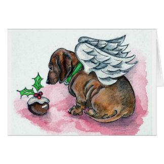 Dachshund angel xmas card by Annabel Tarrant