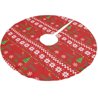 Dachshund Antlers Ugly Christmas Pattern Brushed Polyester Tree Skirt