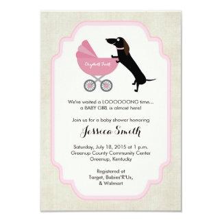Dachshund Baby Shower Girl Invitation