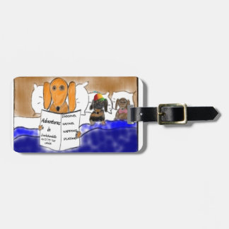 Dachshund Bedtime Story Luggage Tag