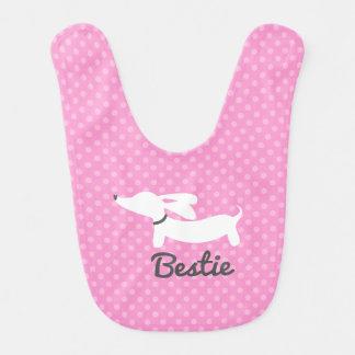 Dachshund Bestie Girls Love Pink Polka Baby Bib