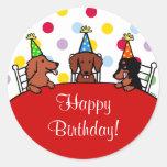 Dachshund Birthday Cartoon Round Sticker