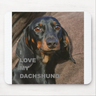 dachshund-black and tan love w pic mouse pad