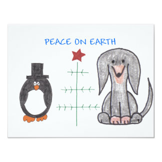 Dachshund Black Peace On Earth Card