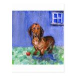 Dachshund blue room portrait post cards
