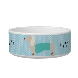 Dachshund Bowl Blue Polka Dot Wiener Dog Dish